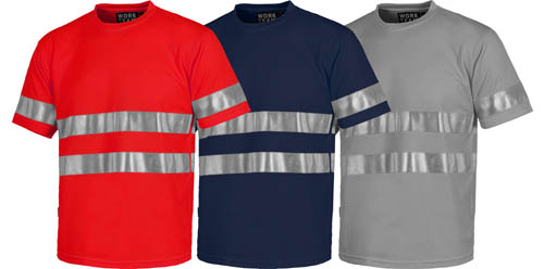 Camisetas de trabajo con bandas reflectantes de alta visibilidad.