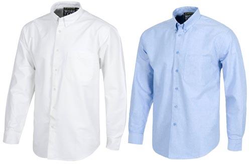 Camisas de trabajo de manga larga en Algodón 100% Oxford.