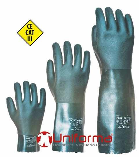 Guantes de trabajo contra el riesgo químico en Uniforma.