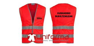 Chaleco rojo de alta visibilidad para la asociación de Bomberos de Euskadi euskadiko suhiltzaileak