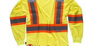 Camiseta de manga larga de alta visibilidad con bandas reflectantes bicolor tipo noche y día en uniforma