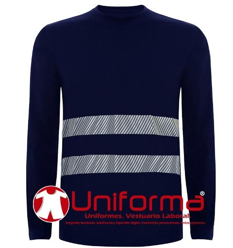 Camiseta de manga larga en algodón 100% con banda reflectante de alta visibilidad discontinua