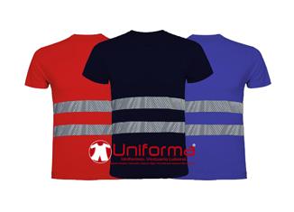 Camisetas de algodón con banda reflectante de alta visibilidad en Uniforma