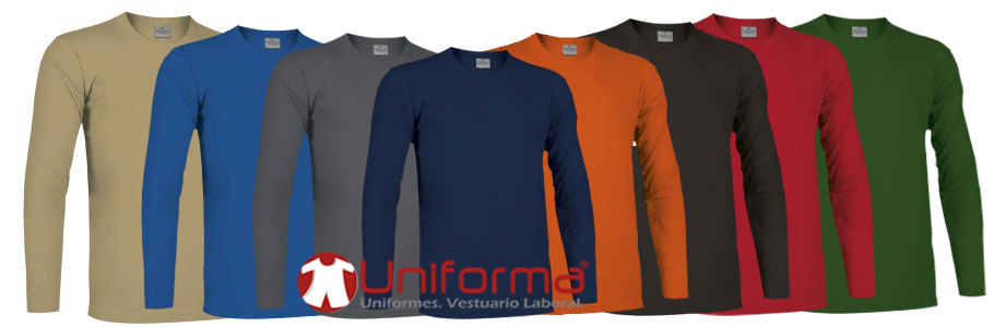Camisetas de trabajo de manga larga de algodón en Uniforma