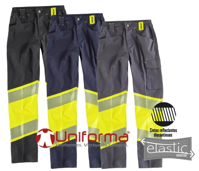 Pantalón de trabajo reflectante de alta visibilidad en tejido elástico.