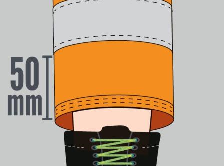 Distancia de la cinta a los extremos de las prendas