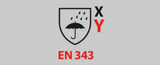 Explicación de los pictogramas de la ropa de trabajo EN343 para el mal tiempo.