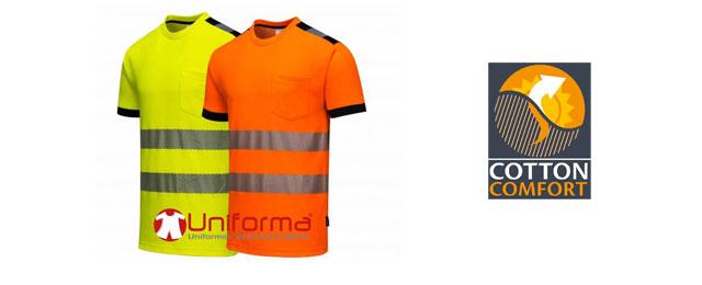 Camisetas de trabajo reflectantes de alta visibilidad con algodón