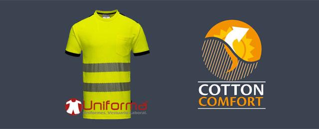 Camiseta de trabajo de alta visibilidad con algodón