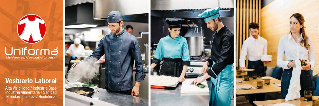 Ropa de trabajo para la hostelería. Uniformes de cocinera, camareros.