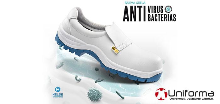 Zapatos y bota de trabajo con suela anti bacterias y virus, mata el 99% de los micro organismos. Auto des contaminante de virus y bacterias